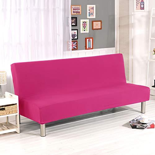 WINS Funda de sofá Cama 3 plazas Fundas Sofa Click clack sin Brazos Funda de sofá Cama Plegable elástica Fundas Clic clac Rosa roja