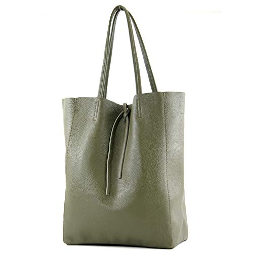 modamoda de - T163 - Ital. Shopper mit Innentasche aus Leder, Farbe:Olivgrün