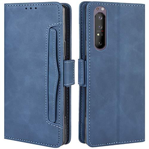HualuBro Handyhülle für Sony Xperia 5 II Hülle Leder, Flip Hülle Cover Stoßfest Klapphülle Handytasche Schutzhülle für Sony Xperia 5 II 2020 Tasche (Blau)