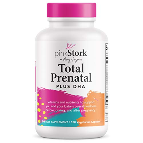 Pink Stork Total Prenatal + 200 mg DHA -Recommended Nutrition Support for Before, During, After Pregnancy -90 Day Supply -Contains Folate & Essential Nutrients, Vegetarian DHA -180 Small Capsules