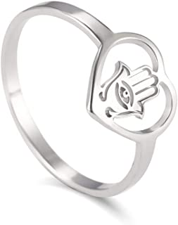 Stainless Steel Heart Hollow Ring Evil Eye Hand Heart Ring Women Jewish Amulet Fatima Palm Stainless Steel Casual Rings,9