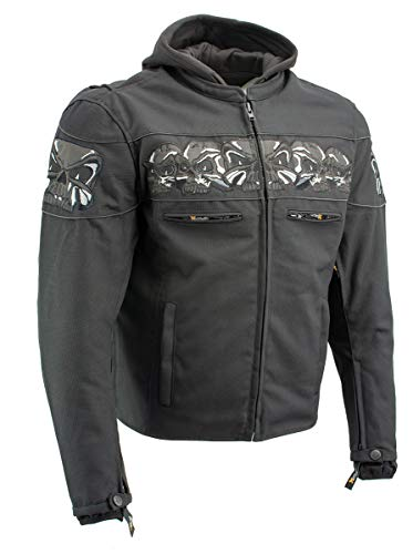 Xelement XS1704 'Vengeance' Men's Black Armored Mesh Motorcycle Jacket with Skull Embroidery - Large