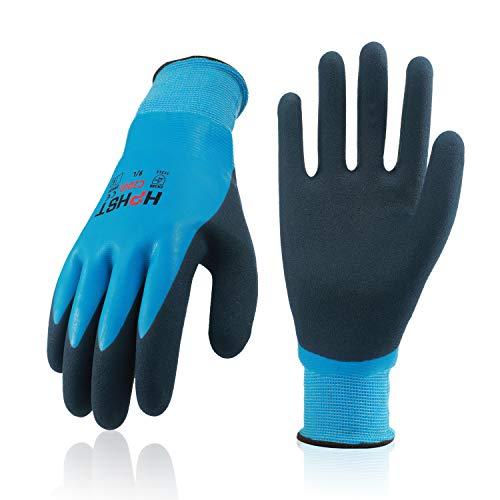 Arbeitshandschuhe Herren und Damen - HPHST C2001 wasserdichte Gartenhandschuhe mit Schaumlatex und Gummibeschichtung Handschuhe (1 Paar) Größe 9/L
