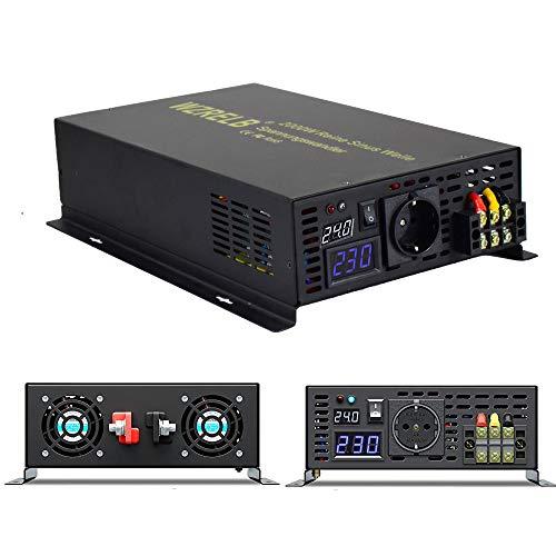 Wechselrichter 24V 3000W Reine Sinuswelle Solar Wechselrichter spannungswandler dc 24V auf ac 230V Converter für Wohnmobile, Autos, Camping, Reisen