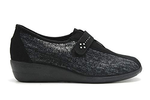 Doctor Cutillas 3686 - Zapatos de Señora con Licra Lateral Plantilla con Memoria Pequeña Cuña en Negro y Plomo