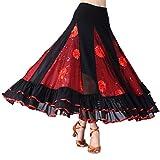 IPOTCH Falda Larga de Mujer Cintura Alata Elástica con Flores Bordadas Lentejuelas Traje para Baile Fiesta Cóctel - rojo, como se describe