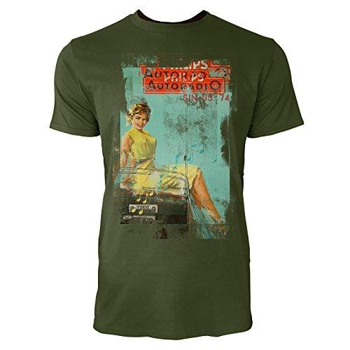 Autoradio Herren T-Shirts Armee grünes Cooles Fun Shirt mit tollen Aufdruck