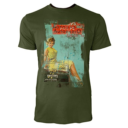 Paul Sinus Art autoradio heren T-shirts legergroen cool fun shirt met leuke print