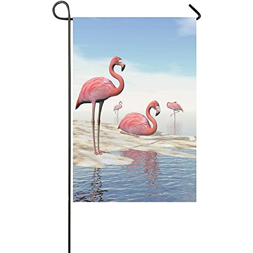 Starclevel Pink Flamingos Long Polyester Garden Flag Banner 12 x 18 inch, Summer Beach Decorative Flag Wedding Anniversary Home Outdoor Garden Decor