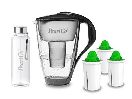 PearlCo - Glas-Wasserfilter (anthrazit) mit 3 Alkaline classic Filterkartuschen + 1 Trinkflasche aus Glas