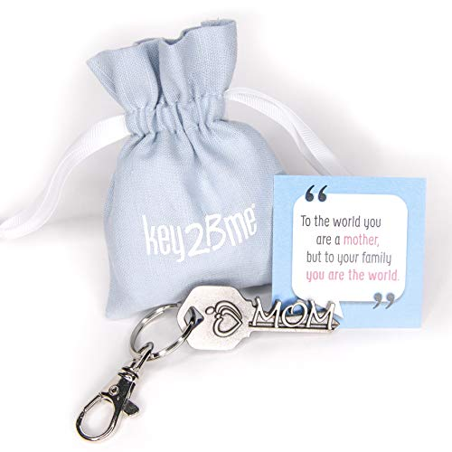 key2Bme MOM Key - Mother Daughter Son Keychain & Inspirational Quote - The Cute Fun Unique Small Perfect Birthday Mother Day Gift Under $10 for Giving Baby Shower Mother to be in Law Daughter