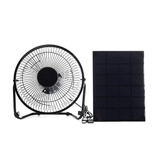 FSCZHLK Ventilator Fan Neu Schwarzer Sonnenkollektor angetrieben + USB 5w Metallventilator 8 Zoll-Abkühlungsbelüftungs-Auto-Kühlventilator für Reisen im Freien Fischen Hauptbüro