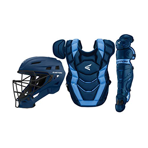 Easton Elite X Baseball Catchers Equipment Box Set, Youth, Navy/Carolina Blue, 2021, Small Helmet, 15 in Chest Protector + Commotio Cordis Foam, 14 in Leg Guards, NOCSAE Approved All Levels
