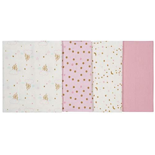 Gerber Baby Girls 4-Pack Flannel Burp Cloth, Princess Arrival, 20