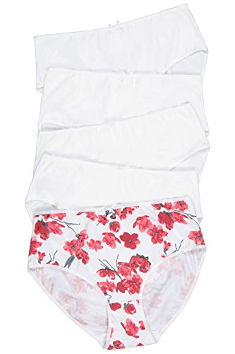 Ulla Popken Damen Slip 5er Pack, Aquarellblüte Taillenslip, Mehrfarbig (Multicolor 90), (Herstellergröße: 58+)