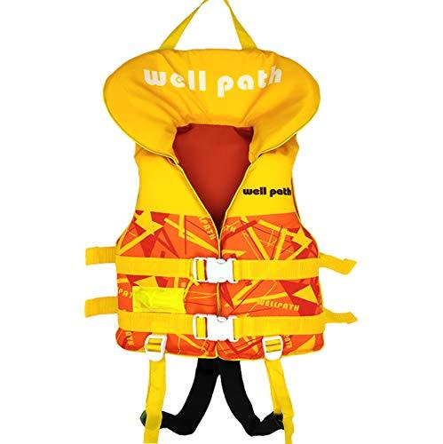 WELLPATH Schwimmweste für Kinder und Babys, mit Kopfschutz, verstellbare Schnalle, geeignet für 11–40 kg (Gelb, Größe XS)