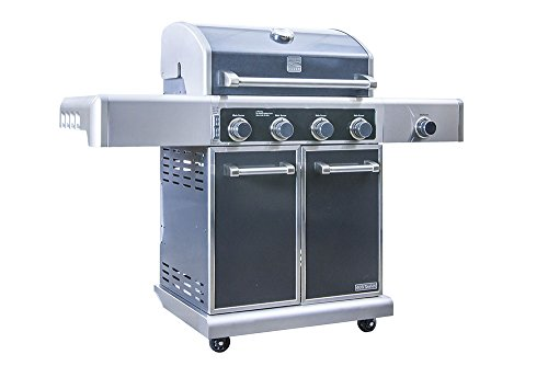 Kenmore Elite  PG-40415S0LC Stainless Steel 4 Burner Outdoor Patio Gas BBQ Propane Grill With Side Burner in , Gun Metal Grey - a Assembly Free Grill Grills Products Propane Service UDS with