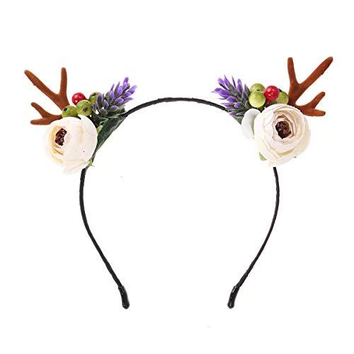 Frcolor Kerstmis hoofdtooi hertengewei haarband bloem kerst hoofddeksel hoofddeksel (grote bloem)
