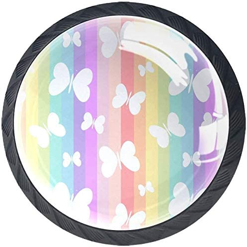 4 Pack Popular Round Cabinet Rare Hardware Knob On Cute Rai White Butterflies