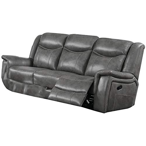 Benjara Leatherette Wooden Sofa with Power Reclining Motion, Gray