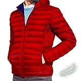 gusto giacca invernale giaccone uomo vera piuma piumino con cappuccio outdoor casual (red, l-xl)
