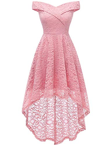 HomRain Damen Schulterfrei Brautjungfernkleider Kleid Cocktail Party Floral Kleid Cocktailkleid Halloween Kleid Pink L