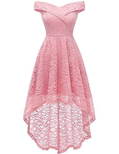 HomRain Damen Kleider Elegant Spitzenkleid Cocktailkleid Knielang Rockabilly Kleid Abendkleider Pink S