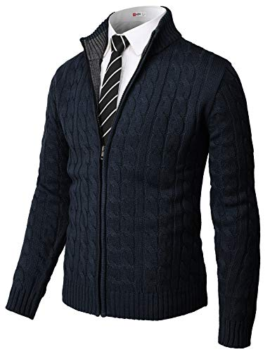 H2H Mens Casual Slim Fit Cardigan Sweater Cable Knitted Button Down Stand Collar Navy US M/Asia L (CMOCAL036)