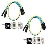 2PCS DHT22 AM2302 Módulo de sensor de humedad y temperatura digital 3.3-5V, para Arduino Raspberry Pi Micro: bit ESP8266 ESP32 NodeMCU Micro: bit