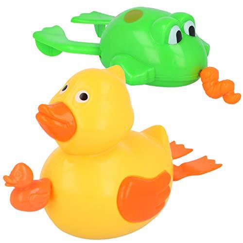 com-four® 2X Badespielzeug für Jungen und Mädchen, Wasserspielzeug zum Aufziehen ideal in der Badewanne oder Pool (02 Stück - Frosch/Ente)