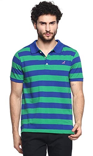 AMERICAN CREW Men's Polo Green with Blue Stripes T-Shirt - S (AC700-S)