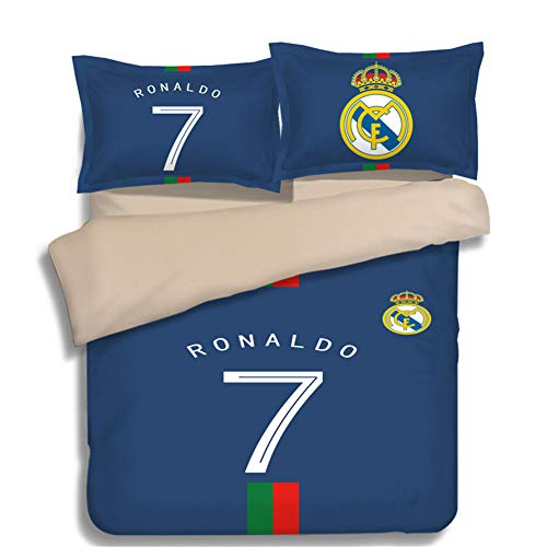 FONKIC Quilt Covered Pillowcase Double Bedding 3 Piece Suit Barcelona Real Madrid Chelsea Football Soccer Club,5,US-Queen