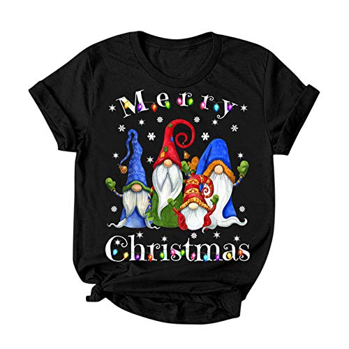 2020 Christmas T-Shirt for Women, Short Sleeve Crew Neck Xmas Gnomes Graphic Tee for Lady
