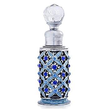 Vintage Decorative Fragrance Bottles Crystals Bejewelled Small Tubular Antique Refillable Perfume Bottles 6ml,Blue