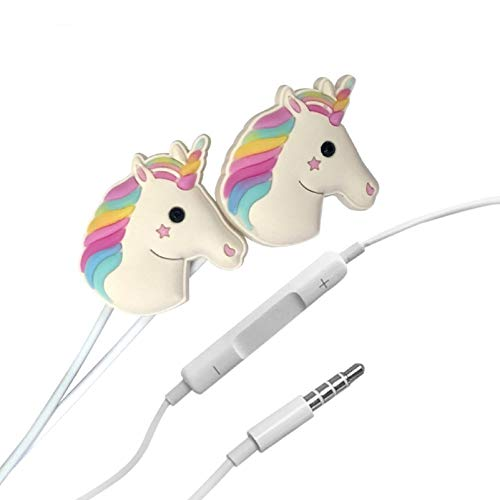 Cartoon Earphone 3D Cute Animal Unicorn Earbuds Headphones Suitable to Remote and Mic for Apple Samsung HTC Android Smartphones Tablets Hands-Free/in-Ear Style Earbuds of Elec