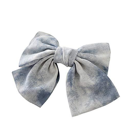 strimusimak Élégant Femmes Tie Dye Bowknot Ruban en Épingle À Cheveux Clip De Cheveux Titulaire De Queue De Cheval Accessoire Épingles À Cheveux Bleu