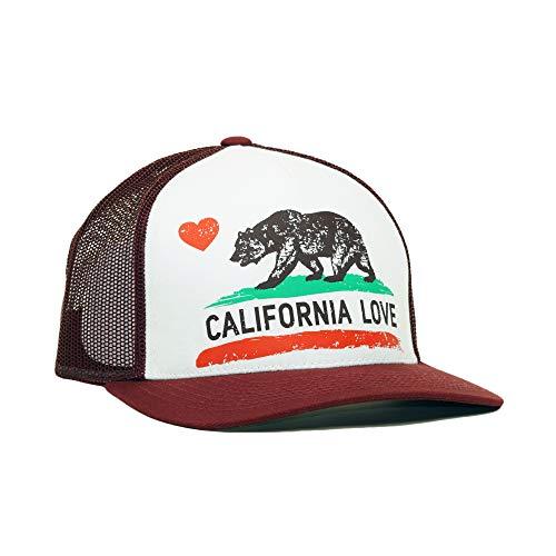 Women California Love Printed Premium Cotton Mesh Trucker Hat Adjustable Bear Heart Baseball Cap (Burgundy)