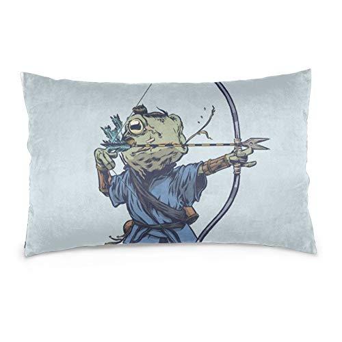 VVSADEB Funda de almohada Samurai Frog 50 x 70 cm, funda de almohada con cremallera, suave y acogedor, arrugas, tamaño estándar 1 paquete