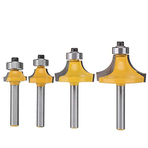 Eyech 4Pcs Round Over Router Bits Set, 1/4 Inch Shank Rounding Edge-Forming Router Bit Set Rounding Over Router Bit Set - 5/16
