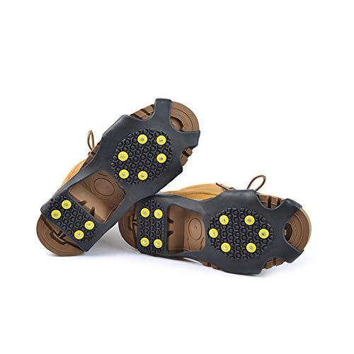 Jiuyue Cubrezapatos Antideslizantes para Crampones, Dispositivo De Tracción para Andador De Nieve En Invierno, Adecuado para Montañismo, Escalada En Hielo, Caminatas sobre Nieve, Etc. 10 Dientes/XL