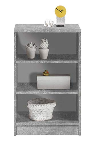 Wohnzimmerregal Standregal Bücherregal | 3 Fächer | Dekor | Betonoptik | Weiß | BxHxT: 54x86x34 cm