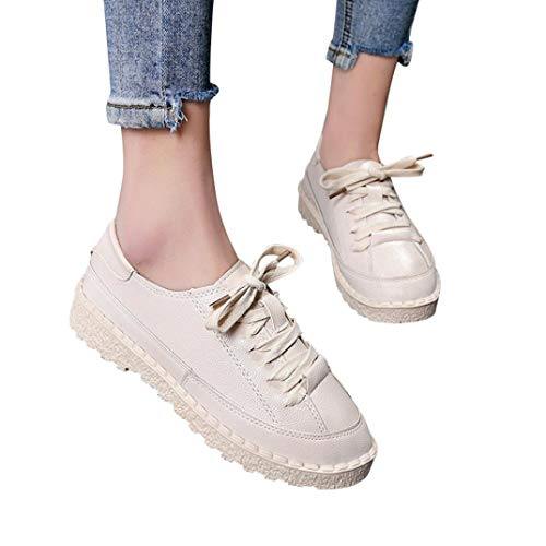Boots for Womens Women's Ankle Flat Lace-Up Casual Shoes Short Boots Sports Shoes (Beige, 7)