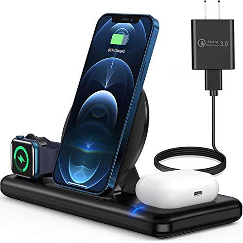 Cargador inalámbrico, estación de carga inalámbrica 3 en 1 para i-Watch, Air-Pods Pro/2, Qi Fast Wireless Charging Stand para iP hone 12/11 y todos los teléfonos móviles compatibles con Qi