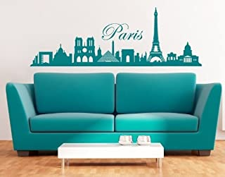 Paris City Skyline Wall Decal by Style & Apply - cityscape highest quality wall decal, sticker, mural vinyl art home decor - 3762 - Black, 59in x 20in