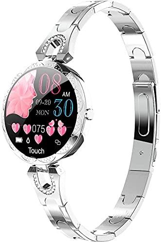1.3in Kobiety Smart Watch Moda Stal Zegarek IP67 Wodoodporna Damska Bransoletka Krok Fitness Tracker dla Androida/IOS, Silver