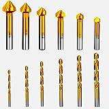 Avellanadores Cónicos HSS,Tianher 12 Piezas Brocas Avellanadoras Cónicas 90° Avellanador Cubiertas de Titanio Chaflán Acero para Avellanador Metal Aluminio Broca Avellanadora avec Punzon Centradora.