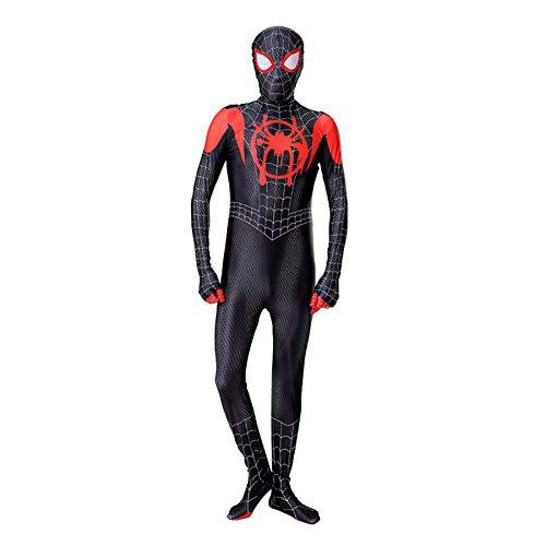 Child Adult Bodysuit Verbunden Siamesischen Engen Muskel Spiderman Kostüme 3D-Druck Cosplay Kostüm Anzug Für Halloween Karneval Party Onesies Kostüm,Black-Adult(170~180cm)