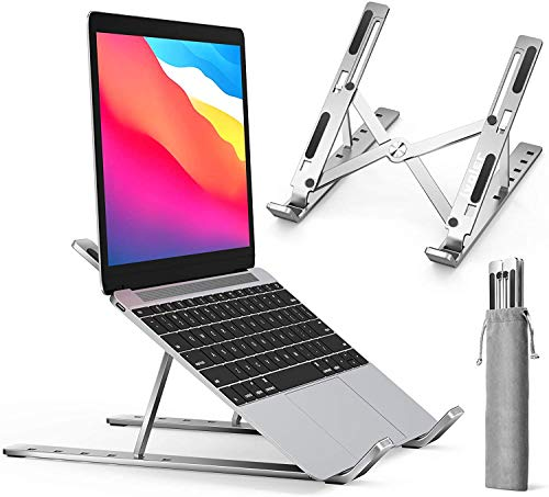 SOOMY Laptop Stand, Adjustable Angle Folding Laptop Stand, Ventilated Aluminum Laptop Stand for MacBook / PRO / Air / iPad / Huawei Matebook D / HP / Other 10-15.6 'Laptop Tablet(Black)