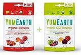 Yumearth - piruletas ecológicas de frutas sabor a frutas y frutas ácidas (pack de 2 bolsas combinado)