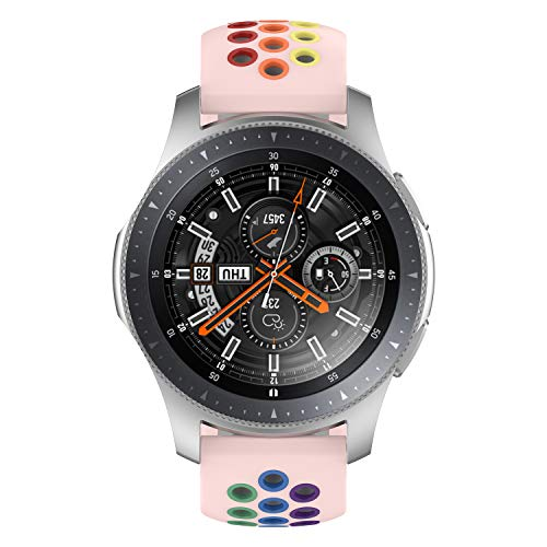 Geageaus Rainbow Sport Band,22mm Quick Release Replacement Silicone Strap Compatible With Samsung Galaxy Watch 3 45mm 46mm/Gear S3 /TicWatch Pro/E2/S2 Sport Watch Bands (Pink/Colorful)